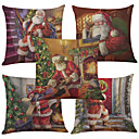 tanie Dekoracje bożonarodzeniowe-5 szt Bielizna Naturalne / ekologiczne Cotton / Linen Poszewka na poduszkę Pokrywa Pillow, Textured Styl plażowy Euro Wałek Tradycyjny /