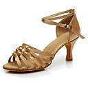 olcso Latin cipők-Női Latin cipők Selyem Magassarkúk / Sportcipő Személyre szabott sarok Személyre szabható Dance Shoes Sötétbarna / Meztelen