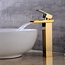 cheap Sprinkle® Faucets-Bathroom Sink Faucet - Waterfall Gold Centerset One Hole