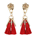 cheap Party Headpieces-Women's Tassel / Long Drop Earrings - Friends, Flower Classic, Tassel, Natural Red / Green / Blue For Christmas Gifts / Party / Birthday