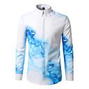 baratos Relógio Elegante-Homens Camisa Social Activo / Boho Estampado, Geométrica Algodão Colarinho Clássico
