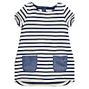 cheap Girls' Dresses-Girl's Striped Dress, Cotton Summer Sleeveless Stripes White