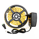 billige LED Strip Lamper-5 m Fleksible LED-lysstriper 300 LED 3528 SMD Varm hvit / Hvit Kuttbar / Selvklebende 12 V 1pc