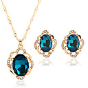 cheap Jewelry Sets-Women's Jewelry Set - Rhinestone Flower Punk, Rock, Fashion Include Necklace Dark Blue / Green / Blue For Dailywear / Date / Birthday Party