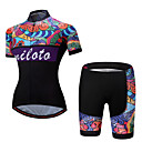 cheap Cycling Pants, Shorts, Tights-Miloto Women's Short Sleeve Cycling Jersey with Shorts - Rainbow Floral / Botanical Plus Size Bike Clothing Suit Sports Polyester Spandex Floral / Botanical Mountain Bike MTB Road Bike Cycling
