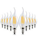 baratos Lâmpadas Filamento de LED-YWXLIGHT® 10pçs 4W 300-400lm E12 Luzes de LED em Vela CA35 4 Contas LED COB Regulável Decorativa Branco Quente 110-130V