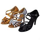 baratos Dance Boots-Mulheres Sapatos de Dança Latina Seda Sandália Laço(s) Salto Agulha Personalizável Sapatos de Dança Preto / Khaki / Espetáculo