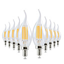 cheap LED Filament Bulbs-YWXLIGHT® 10pcs 4W 300-400lm E14 LED Candle Lights CA35 4 LED Beads COB Dimmable Decorative Warm White 220-240V