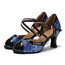 baratos Sapatos de Dança Latina-Mulheres Sapatos de Dança Latina Glitter / Courino Sandália / Salto Presilha Salto Personalizado Personalizável Sapatos de Dança Branco /