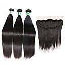 cheap One Pack Hair-3 Bundles with Closure Malaysian Hair Straight Virgin Human Hair Hair Weft with Closure 8-26 inch Human Hair Weaves 4x13 Closure / Lace Front Soft / 4a Human Hair Extensions