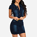 cheap Synthetic Lace Wigs-Women's Street chic Denim Bodycon / Denim Dress - Solid Colored Mini Shirt Collar / Spring / Summer / Slim
