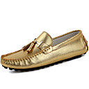 cheap Men's Oxfords-Men's Moccasin Nappa Leather Spring / Fall Loafers & Slip-Ons Gold / Silver / Party & Evening