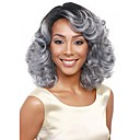 お買い得  人毛キャップレスウイッグ-人工毛ウィッグ ウェーブ 合成 グレイ かつら 女性用 ミディアム キャップレス