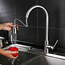 cheap Shower Faucets-Kitchen faucet Nickel Brushed Centerset Contemporary / Modern Style / Brass