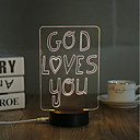 cheap Night Lights-1 Set, Popular Home Acrylic 3D Night Light LED Table Lamp USB Mood Lamp Gifts, God loves you