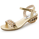 cheap Women's Sandals-Women's PU(Polyurethane) Summer Comfort Sandals Walking Shoes Low Heel Open Toe Rhinestone Gold / Black / Silver