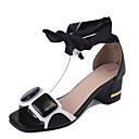 preiswerte Damen Sandalen-Damen Schuhe PU Sommer Komfort / Slouch Stiefel Sandalen Walking Keilabsatz Offene Spitze Weiß / Schwarz