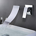 cheap Shower Faucets-Bathroom Sink Faucet - Waterfall Chrome Wall Mounted Single Handle Two HolesBath Taps / Brass