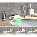 cheap Bathtub Faucets-Bathtub Faucet - Color Changing / Artistic Chrome Widespread Ceramic Valve