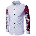 cheap Anime Costumes-Men's Casual Cotton Slim Shirt - Solid Colored Print Classic Collar White L / Long Sleeve / Spring / Summer / Fall