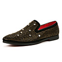 cheap Wedding Shoes-Men's Leather Spring / Fall Comfort Loafers & Slip-Ons Walking Shoes Gold / Black / Sparkling Glitter / Party & Evening