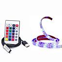 رخيصةأون خصلات شعر طبيعي-1M أضواء RGB بشكل شريط 30 المصابيح 5050 SMD 1 24 مفاتيح تحكم عن RGB ضد الماء / قابل للقص / يو اس بي 5 V / USB آلي ب 1SET / IP65