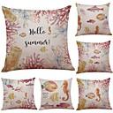 cheap Pillow Covers-6 pcs Linen Cotton/Linen Pillow Case Pillow Cover, Textured Beach Style Bolster Traditional/Classic