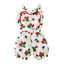 cheap Wall Stickers-Baby Girls' One-Pieces, Cotton Summer Floral Sleeveless White