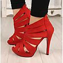 זול מגפי נשים-בגדי ריקוד נשים נעליים PU פליז קיץ נוחות מגפיים בוהן מציצה ל מסיבה וערב שחור אדום