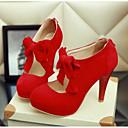 olcso Női magassarkú cipők-Női Cipő PU Nyár Kényelmes Magassarkúak Fekete / Bézs / Piros