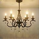 baratos Lustres-6-luz Lustres Luz Ambiente Acabamentos Pintados Metal Cristal, Estilo Vela 110-120V / 220-240V Lâmpada Não Incluída / E12 / E14