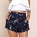 baratos Extensões de Cabelo com Cor Natural-Mulheres Moda de Rua Delgado / Chinos / Shorts Calças - Floral Estampado