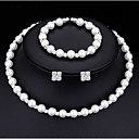 cheap Jewelry Sets-Women's Crystal Jewelry Set - Imitation Pearl Luxury, Classic, Basic Include Stud Earrings / Necklace / Bracelet White For Wedding / Party / Birthday / Graduation / Engagement / Gift / Daily / Casual