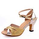 olcso Latin cipők-Női Latin cipők Flitter Szandál Csat Vaskosabb sarok Dance Shoes Ezüst / Piros / Kék / Otthoni / Bőr
