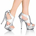 cheap Women's Sandals-Women's Shoes PU(Polyurethane) Summer Formal Shoes Sandals Stiletto Heel Peep Toe Crystal / Buckle Black / Silver / Red / Party & Evening