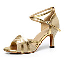 cheap Modern Shoes-Women's Latin Shoes PU Heel Buckle / Splicing Customizable Dance Shoes Gold / Black / Silver / Indoor