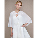cheap Wedding Wraps-Chiffon Wedding / Party / Evening Women's Wrap With Appliques / Buttons Capelets