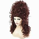 hesapli Düğün Dekorasyonları-Sentetik Peruklar Bukle Sentetik Saç Kırmızı Peruk Kadın's Uzun Bonesiz Koyu Auburn