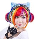 halpa Synteettiset peruukit ilmanmyssyä-Synteettiset peruukit Suora Bob-leikkaus Synteettiset hiukset Punainen / Violetti Peruukki Naisten Lyhyt Suojuksettomat