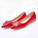 cheap Women's Flats-Women's Shoes Patent Leather Summer / Fall Moccasin Flats Flat Heel Pointed Toe Rhinestone Gray / Red / Almond