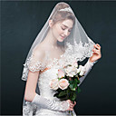 cheap Hair Care-One-tier Lace Applique Edge Wedding Veil Blusher Veils Elbow Veils 53 Appliques Sparkling Glitter Tulle