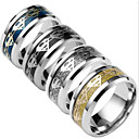 cheap Men's Rings-Men's Band Ring - Titanium Steel Fashion 6 / 7 / 8 Black / Silver / Dark Blue For Daily