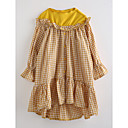 tanie Sukienki dla dziewczynek-Dla dziewczynek Kratka Kratka Rękaw 3/4 Bawełna Sukienka Żółtobrązowy 100