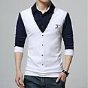 cheap Men's Boots-Men's Work Plus Size Cotton Polo - Color Block Shirt Collar / Long Sleeve