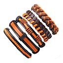 billige Herre Ringe-Herre Dame Wrap Armbånd Læder Armbånd - Læder Bohemisk, Mode Armbånd Orange Til Afslappet I-byen-tøj