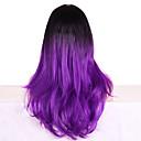 halpa Synteettiset peruukit ilmanmyssyä-Synteettiset peruukit Laineita Otsatukalla Synteettiset hiukset Liukuvärjätyt hiukset / Tummat juuret Violetti Peruukki Naisten Pitkä Suojuksettomat