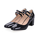 cheap Women's Heels-Women's Shoes PU(Polyurethane) Spring / Fall Comfort / Novelty Heels Chunky Heel Round Toe Buckle Black / Red / Blue / Dress