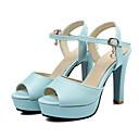 baratos Sandálias Femininas-Mulheres Sapatos Couro Ecológico Primavera / Outono Conforto / Inovador Sandálias Peep Toe Presilha / Vazados Branco / Azul / Rosa claro