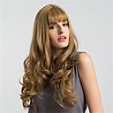 hesapli Sentetik Peruklar-Sentetik Peruklar Dalgalı Bantlı Sentetik Saç Afrp Amerikan Peruk / Patlama ile Kahverengi Peruk Kadın's Uzun / Çok uzun Bonesiz