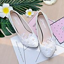 cheap Wedding Shoes-Women's Shoes Lace / Leatherette Spring / Fall Slingback Wedding Shoes Cone Heel / Low Heel Pointed Toe / Round Toe Imitation Pearl /
